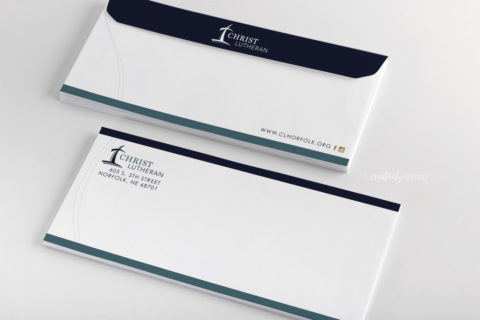 Christ Lutheran Church envelope design mockup creatively seeded
