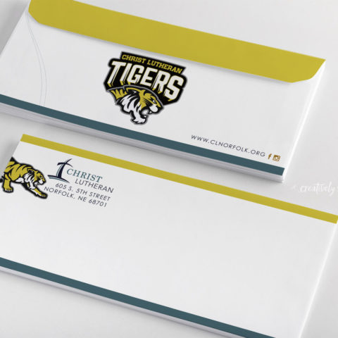 Christ Lutheran Schoool Tigers custom designed envelope creatively seeded
