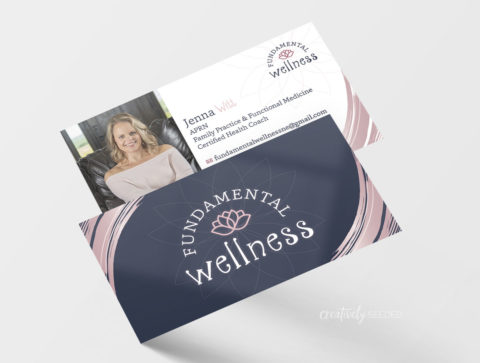 Jenna Witt-Fundamental Wellness business cards creatively seeded