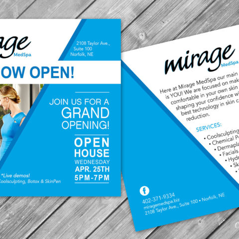 Mirage MedSpa Norfolk NE Square Postcard Design Creatively Seeded