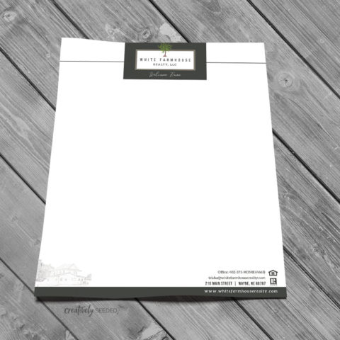 White Farmhouse Realty Wayne NE letterhead design creatively seeded