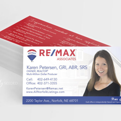 karen petersen-remax-realtor-norfolk-ne-business card-creatively-seeded