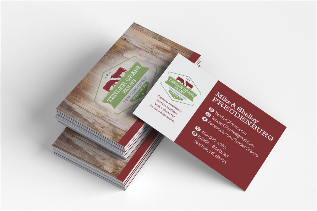 tender grass farms norfolk nebraska business cards creatively seeded