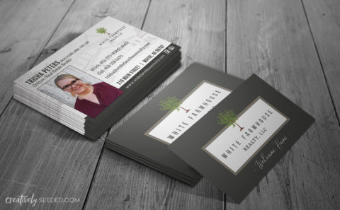 white farmhouse realty business cards-creatively seeded