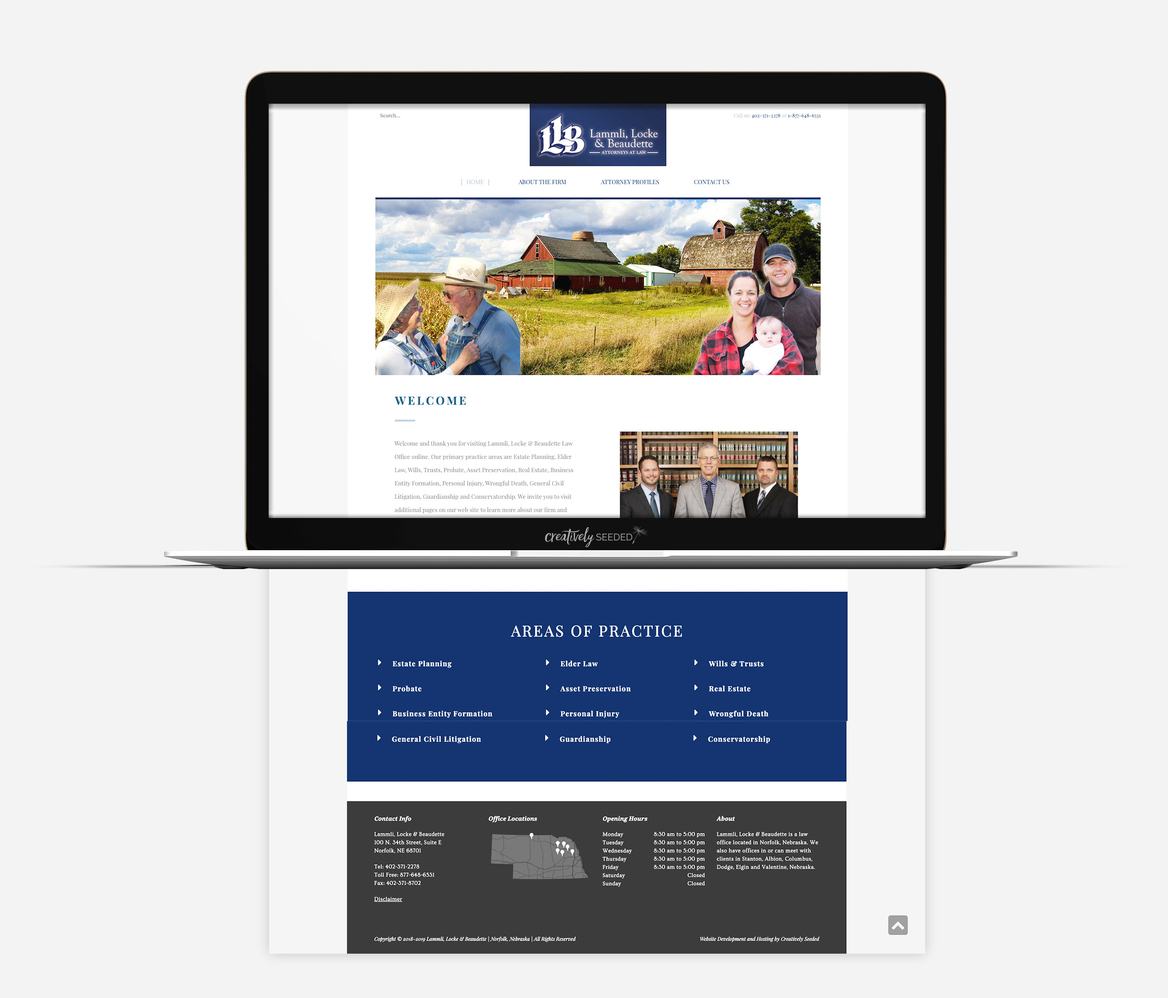 Lammli Lock Beaudette Attorney Website Design Norfolk Nebraska Creatively Seeded
