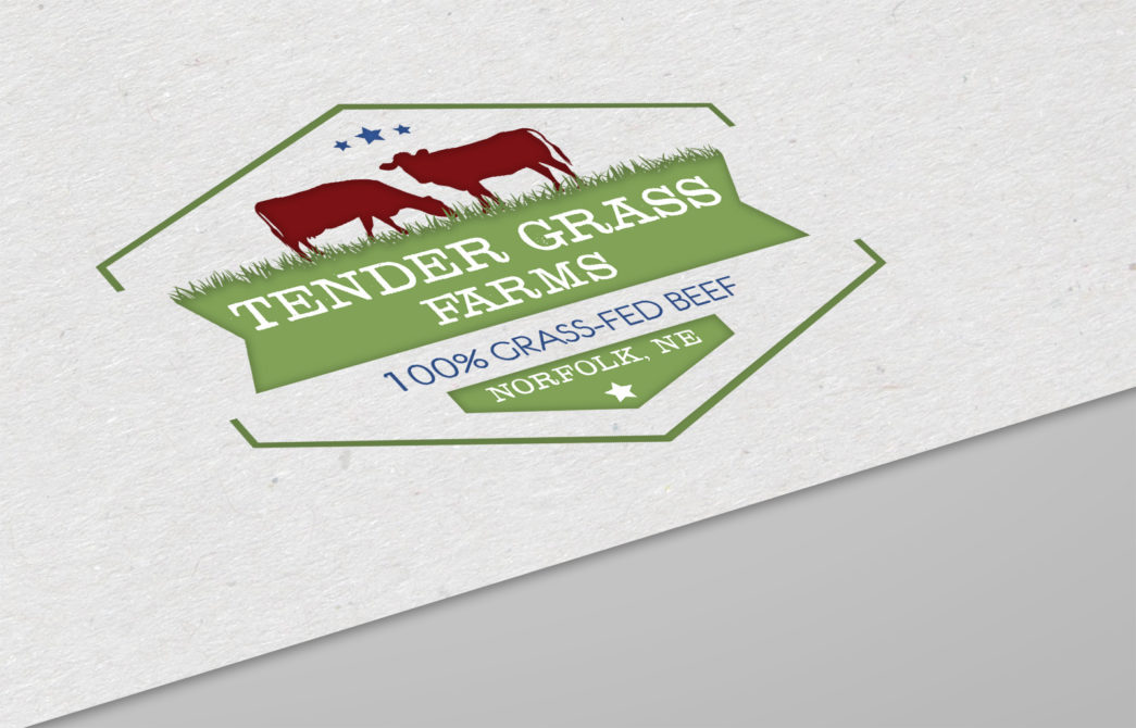 Tender Grass Farms Grass-Fed Beef Logo Design Norfolk NE Creatively Seeded