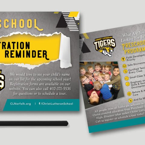christ lutheran tigers preschool registration postcard creatively seeded