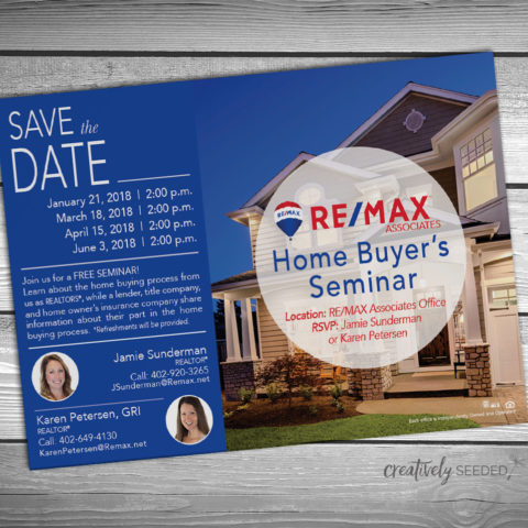 karen petersen remax home buyers seminar postcard design creatively seeded