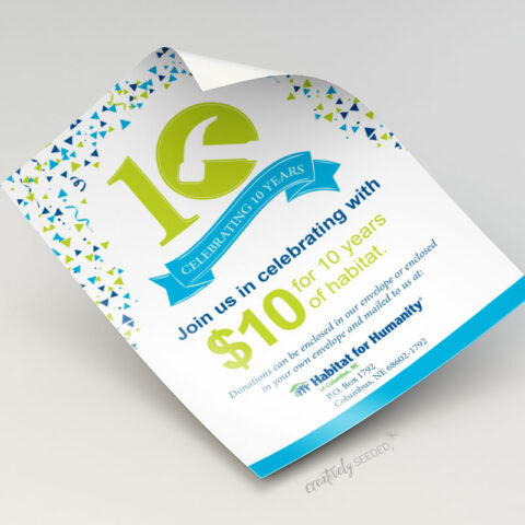 habitat for humanity of columbus ne 10 year celebration flyer design