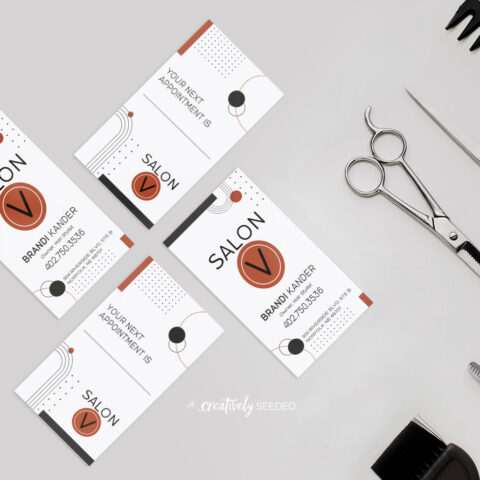 salon v brandi kander norfolk nebraska hair stylist business card design