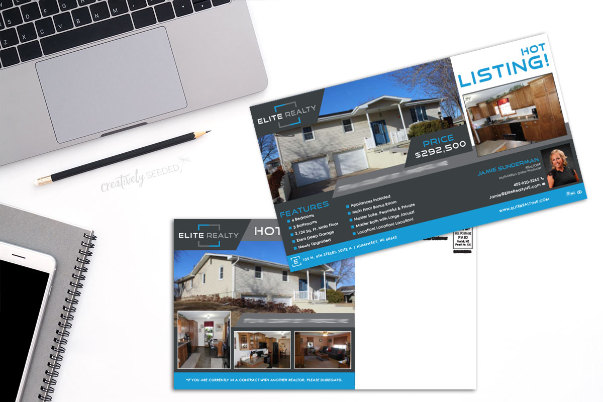 Elite Realty Realtor Jamie Sunderman Every Door Direct EDDM postcard mailing print Norfolk NE
